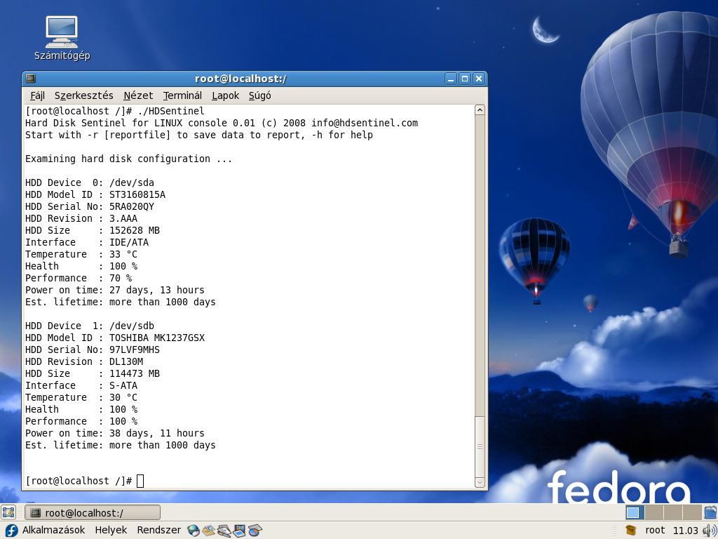 Hard Disk Sentinel Linux screenshot: Hard Disk, Sentinel, Monitoring