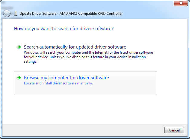 Updating driver for AMD AHCI Compatible RAID Controller