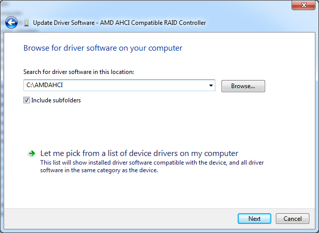 C:\AMDAHCI driver folder selected for AMD AHCI Compatible RAID Controller