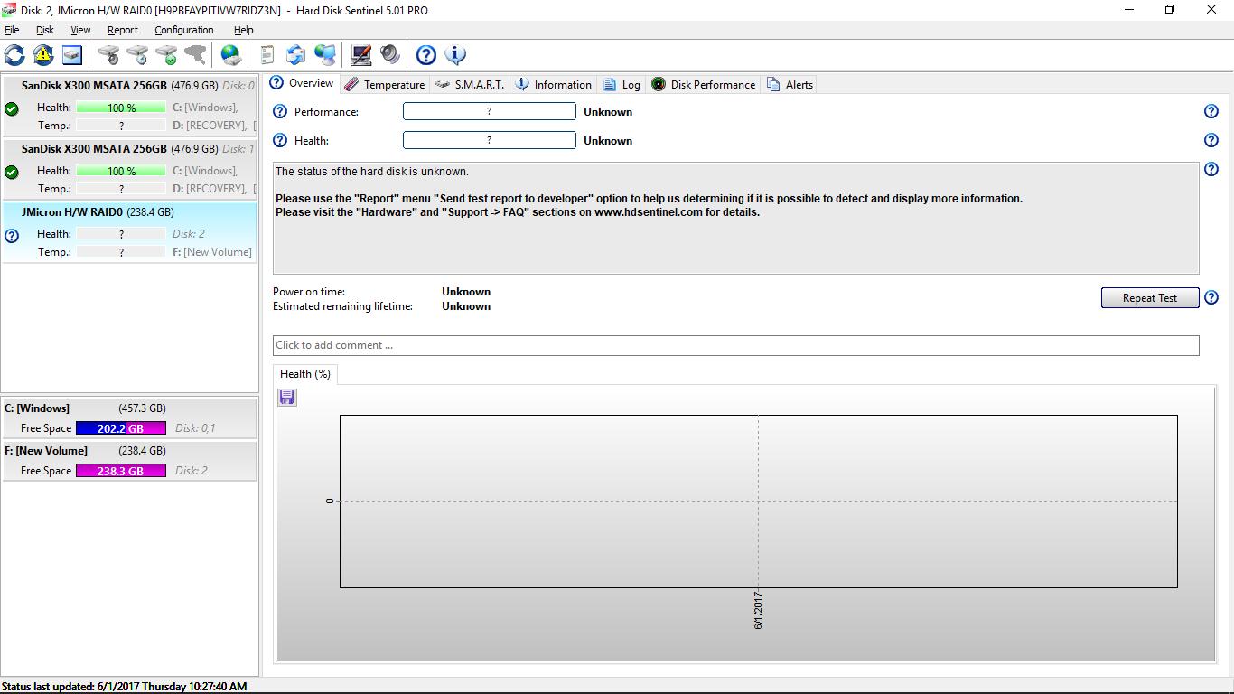 Bug Recognizing JMicron H/W RAID0 • Hard Disk Monitoring