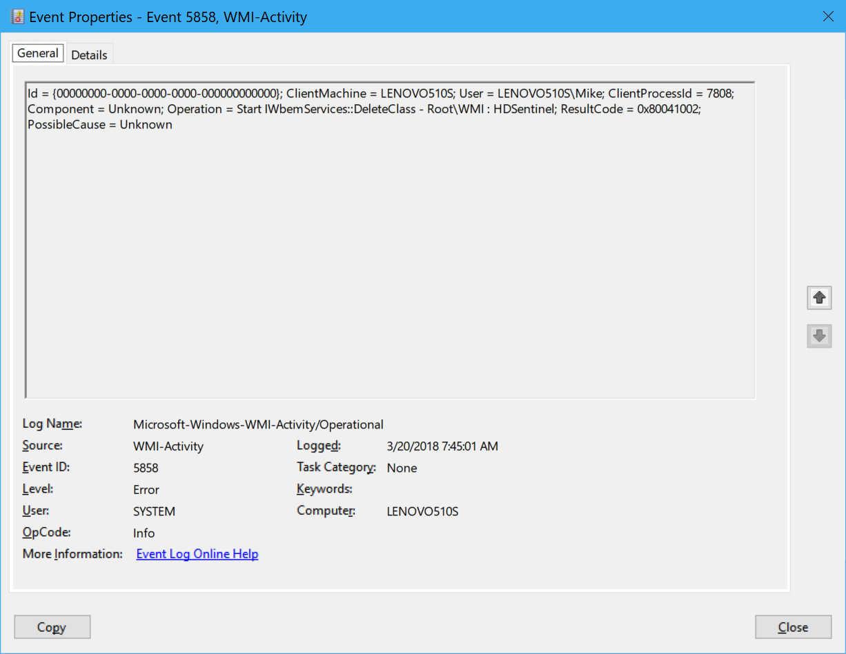 windows 7 wmi error