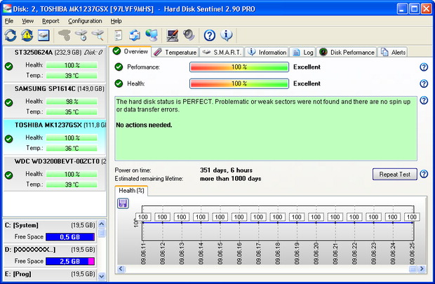 Hard Disk Sentinel screenshot: Hard, Disk, Sentinel, Monitoring, Application, Health, Status, P
