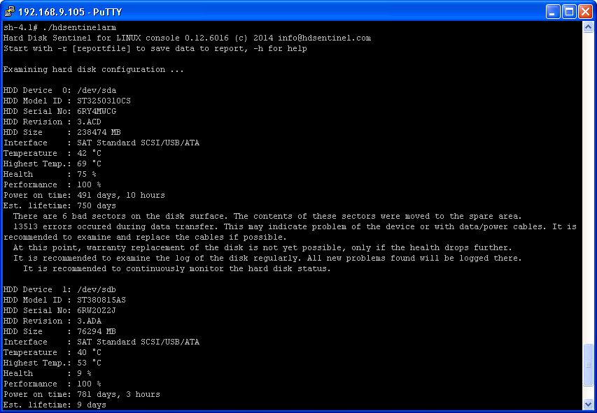 Hard Disk Sentinel Linux version running on D-Link DNS-320LW