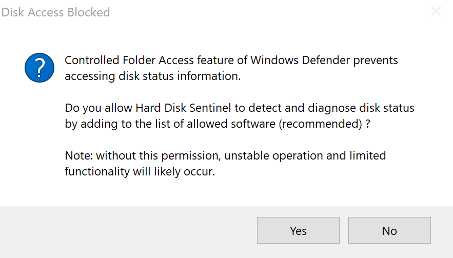 Controlled Folder Access whitelist dialog of Hard Disk Sentinel