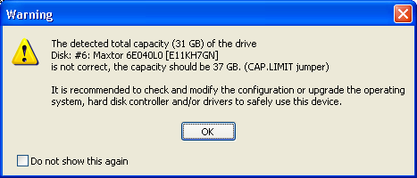 The detected total capacity of the drive is not correct, CAP.LIMIT jumper