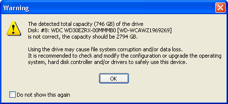 The detected total capacity of the drive is not correct