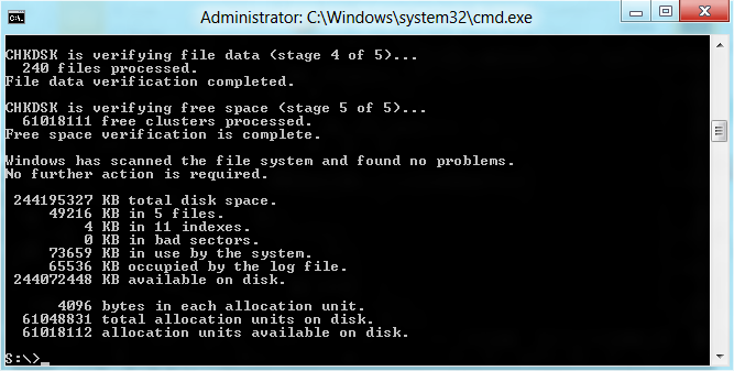 CHKDSK shows 0 KB in bad sectors