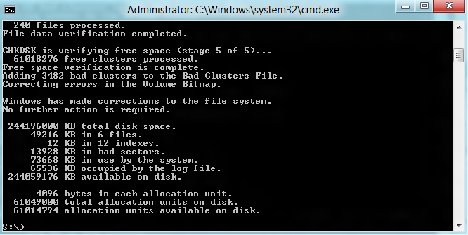 CHKDSK shows bad sectors