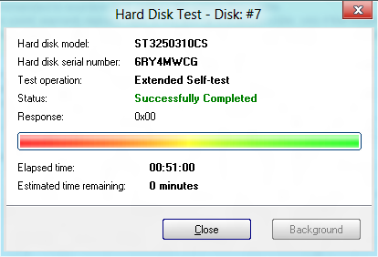 Disk -> Extended self-test successfully completed