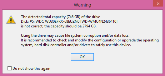 The detected total capacity of the hard disk drive is not correct.