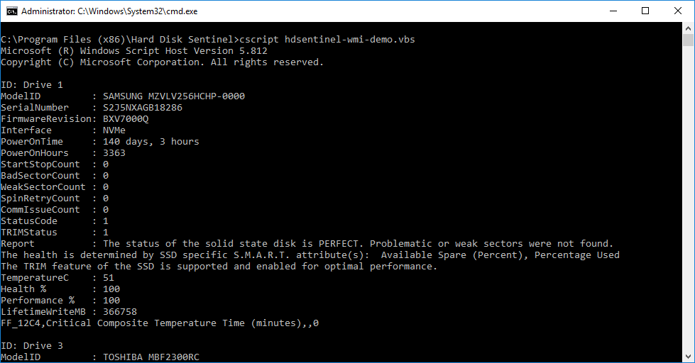 How to: query disk information by WMI from Hard Disk Sentinel