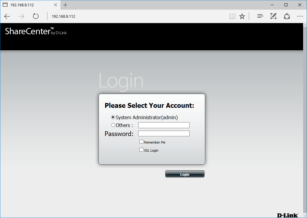 Log in to NAS as admin