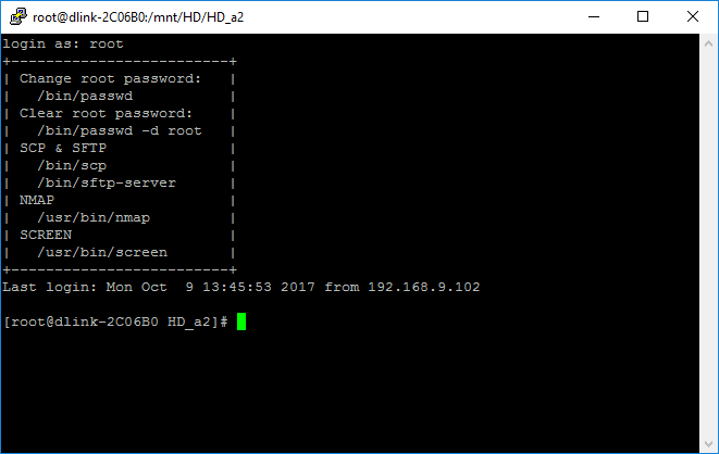 Log in with SSH to the NAS