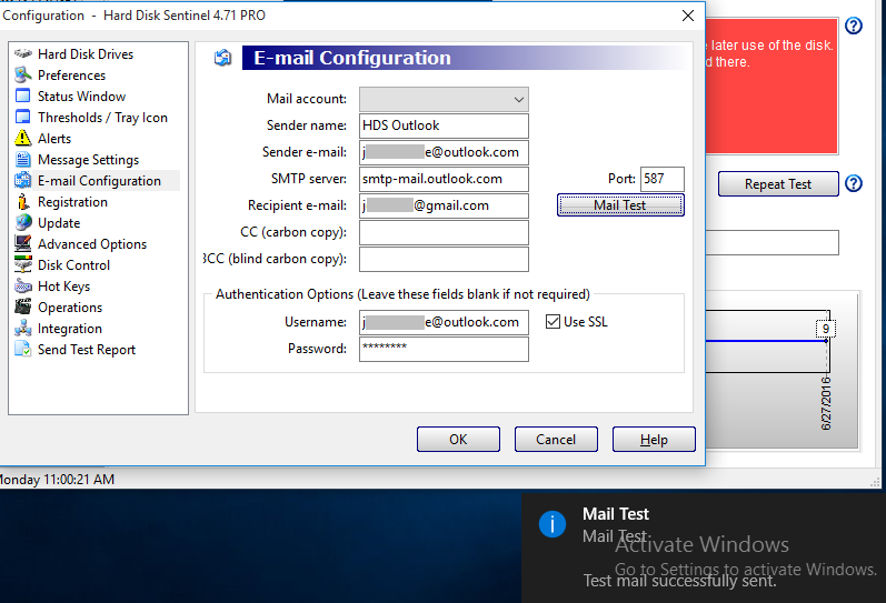 cannot send email SMTP via Outlook/Hotmail account • Hard Disk